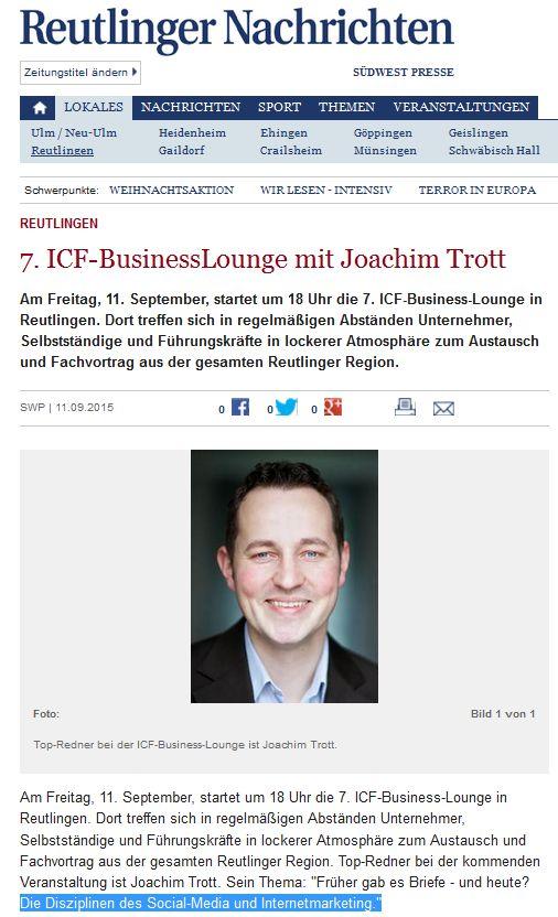 Reutlinger Nachrichten berichten über den Internetmarketing - Vortrag von Joachim Trott